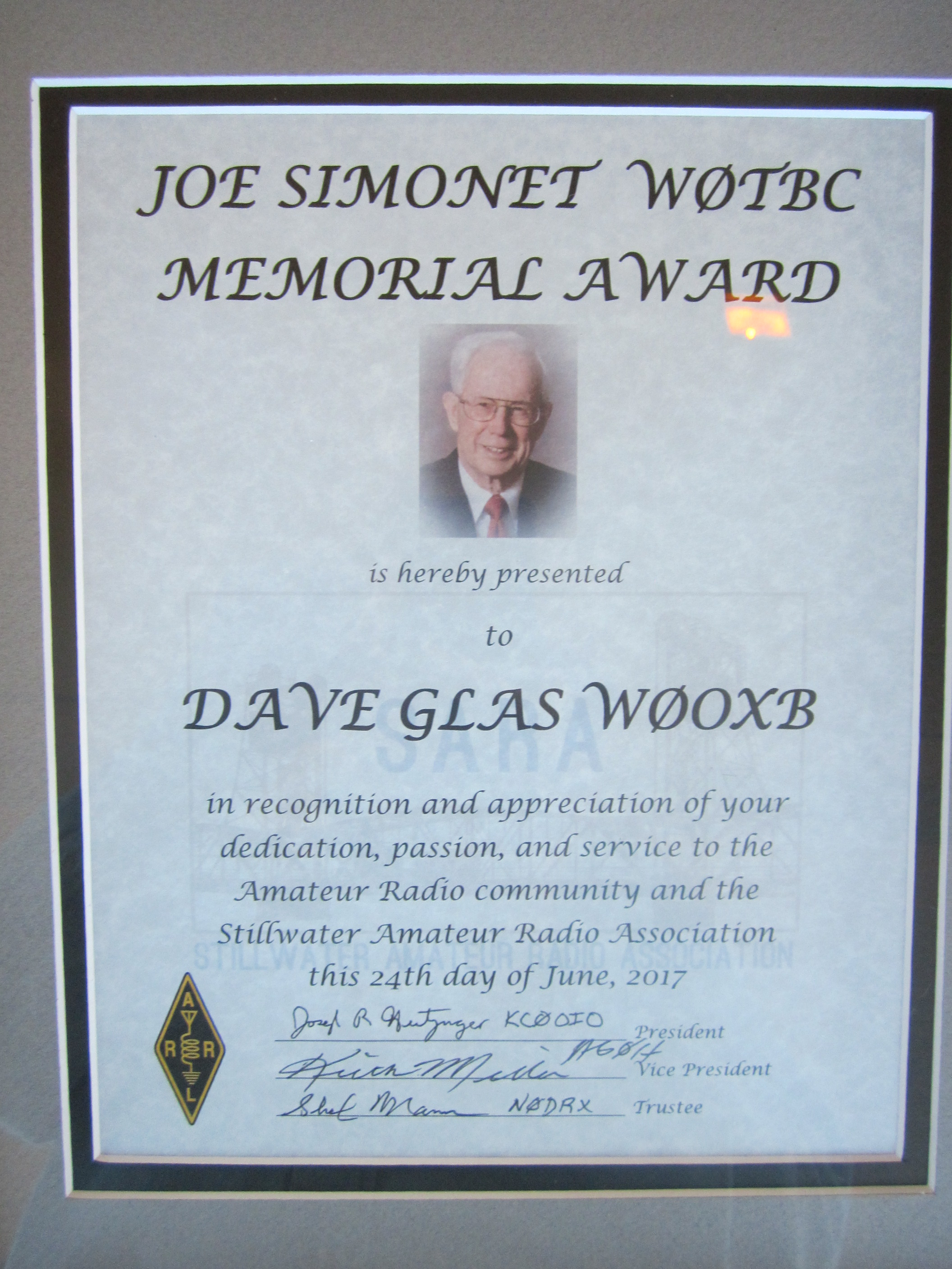 The Joe Simonet WØTBC Memorial Award